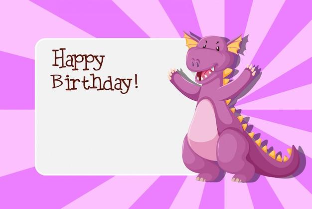 Een dinosaurus op verjaardagssjabloon