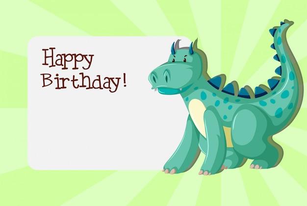 Een dinosaurussen op verjaardagssjabloon