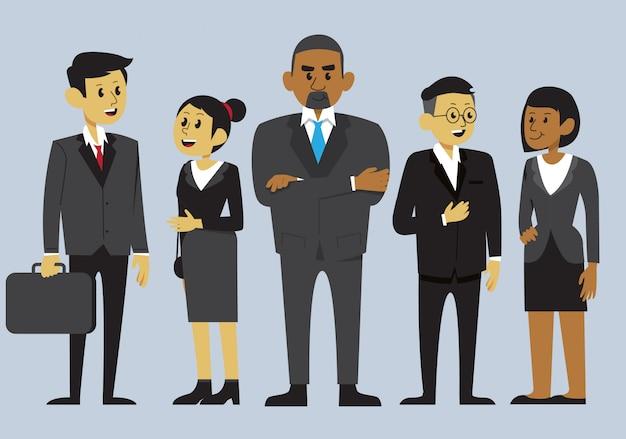 Een diverse groep werknemers in een reeks