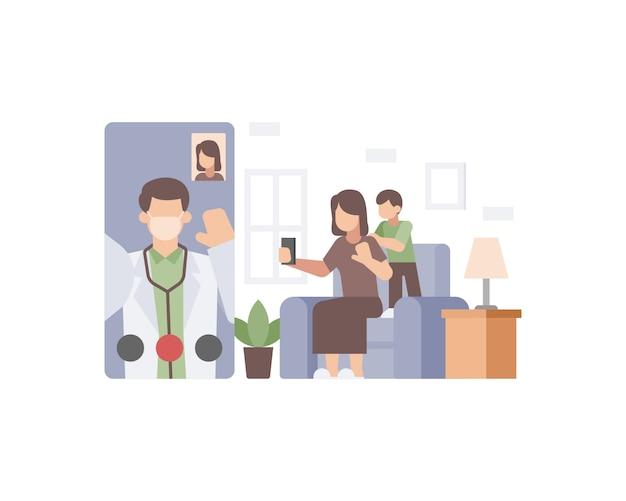 Een dokter doet een videogesprek met zijn lieve familievrouw en zoon vanuit de illustratie van de smartphone-applicatie