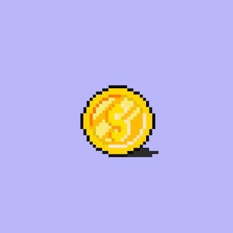 Een dollarmunt met pixelkunststijl