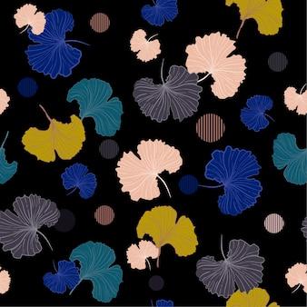 Een donkere zoete pastel blaast ginkgo verlaat naadloos patroon