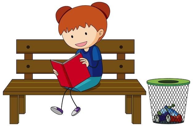 Een doodle kind dat een stripfiguur uit een boek leest