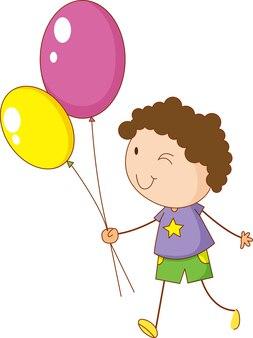 Een doodle kind met ballonnen stripfiguur geïsoleerd