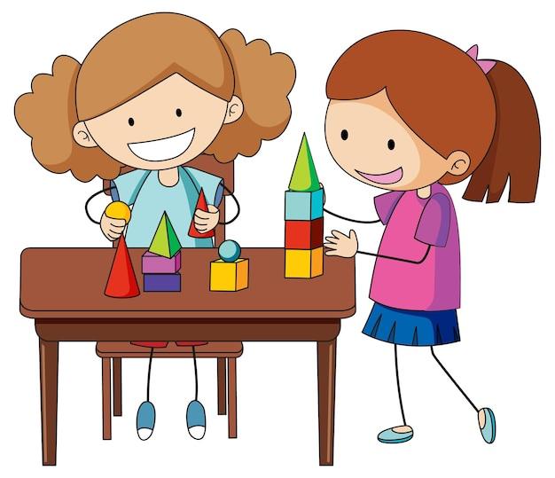 Een doodle kind speelt speelgoed op de tafel stripfiguur geïsoleerd