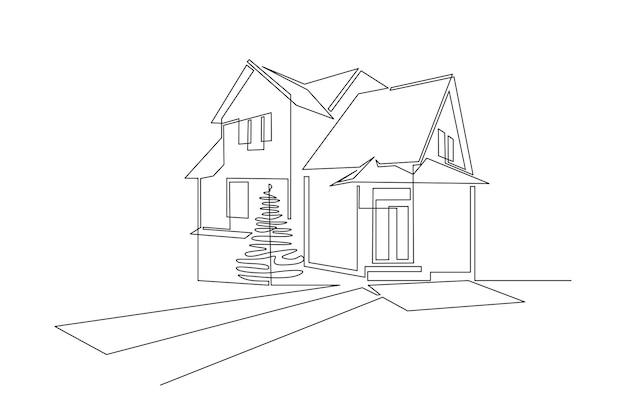 Een doorlopende lijntekening van een familiehuis met twee verdiepingen in een modern dorpsconcept van huisarchitectuur...