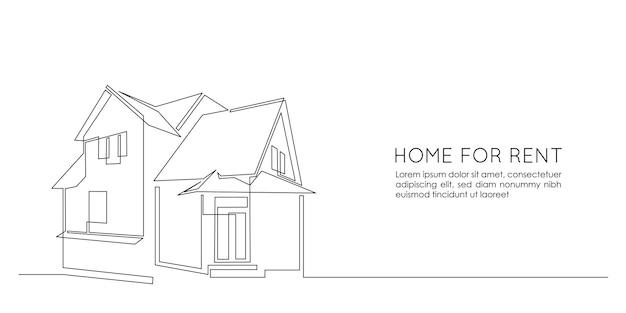 Een doorlopende lijntekening van een familiehuis met twee verdiepingen in het dorp. modern concept van huisarchitectuur in minimalistische lineaire stijl voor webbanner. doodle vectorillustratie.