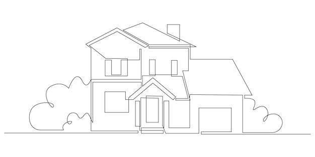 Een doorlopende lijntekening van een familielandhuis met struiken in een modern dorpsconcept van huisar...