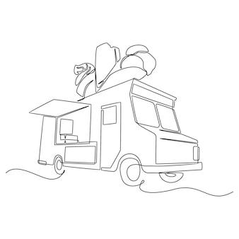 Een doorlopende lijntekening van een foodtruck voor festival abstract