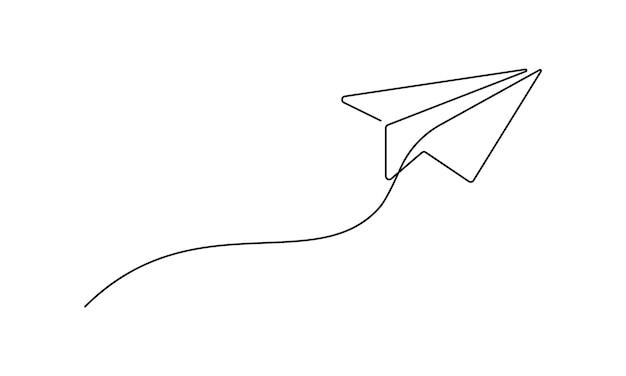 Een doorlopende lijntekening van een papieren vliegtuig dat omhoog beweegt. vliegtuigsymbool in eenvoudige krabbelstijl. bewerkbare lijn vectorillustratie