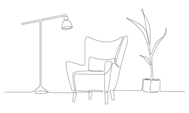 Een doorlopende lijntekening van fauteuil en lamp en potplant. stijlvol meubilair voor het interieur van de woonkamer in eenvoudige lineaire stijl. bewerkbare beroerte vectorillustratie.