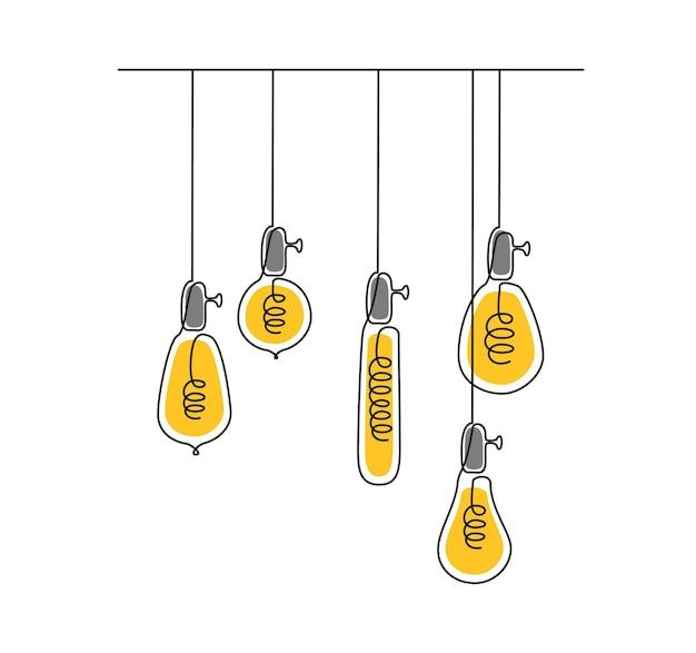 Een doorlopende lijntekening van glanzende gloeilampen hangende hangende elektrische loftlampen met edison bu...