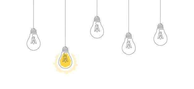Eén doorlopende lijntekening van hangende gloeilampen met één stralend concept van creatief idee in eenvoud...