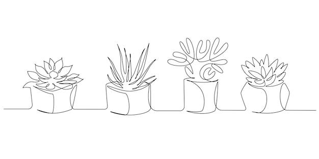 Een doorlopende lijntekening van kamerplanten in potten. eco interieur met vetplanten voor appartement in eenvoudige lineaire stijl. bewerkbare beroerte vectorillustratie.