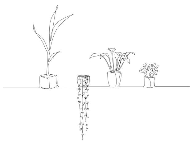 Een doorlopende lijntekening van kamerplanten in potten. vetplanten en gebladerte bloemen voor appartement in eenvoudige lineaire stijl. bewerkbare beroerte vectorillustratie. vector illustratie