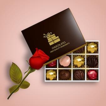 Een doos met chocolade illustratie