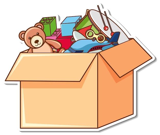 Een doos vol kinderspeelgoed in stickerstijl