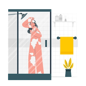 Een douche nemen concept illustratie