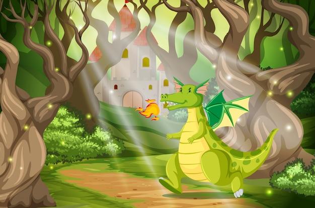 Een draak in het boskasteel