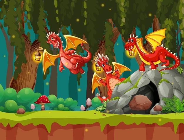 Een draak in het donkere bos