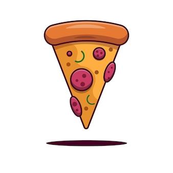 Een drijvend stuk pizza