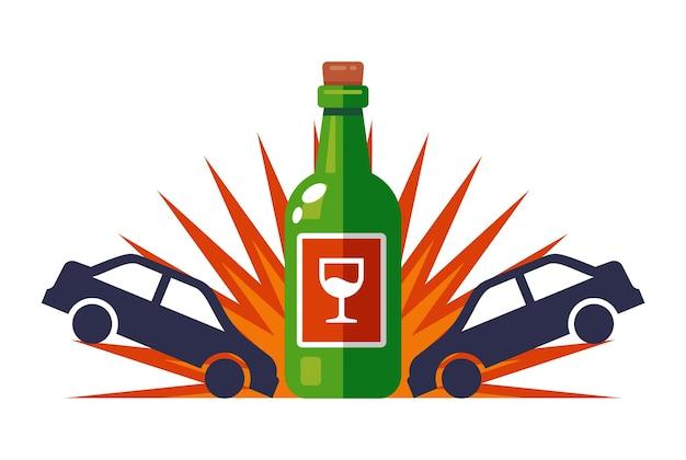 Een dronken bestuurder rijdt een ongeluk op de weg. platte vectorillustratie geïsoleerd op een witte achtergrond.