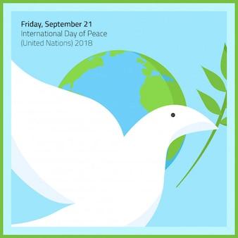 Een duif met olijf stok in vrede dag 21 september