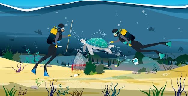 Een duiker helpt een net dat zeeschildpadden omhult