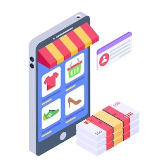 Een e-commerce-app met een isometrisch pictogram voor online producten