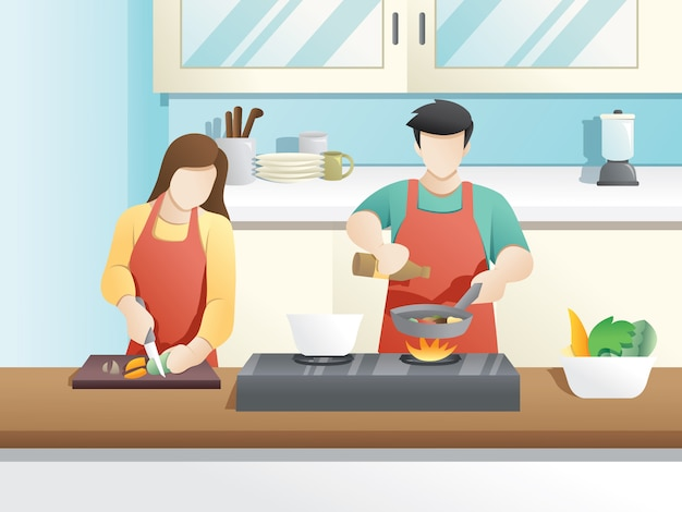 Een echtpaar kookt samen