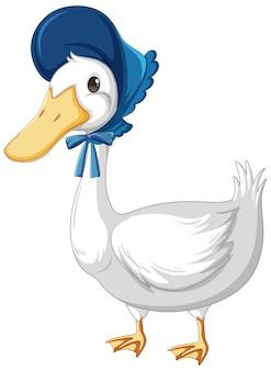 Een eend met hoed in cartoon-stijl op wit wordt geïsoleerd