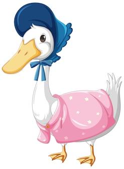 Een eend met muts en sjaal in cartoon-stijl op wit wordt geïsoleerd