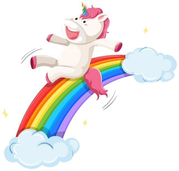 Een eenhoorn glijdt over de regenboog