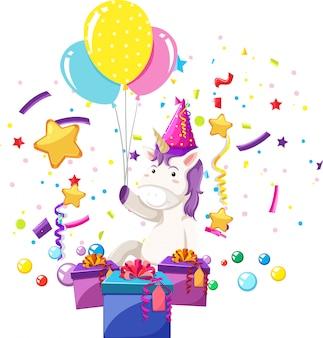 Een eenhoorn viert verjaardag