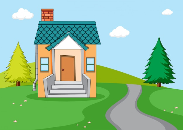 Een eenvoudig huis op aardachtergrond