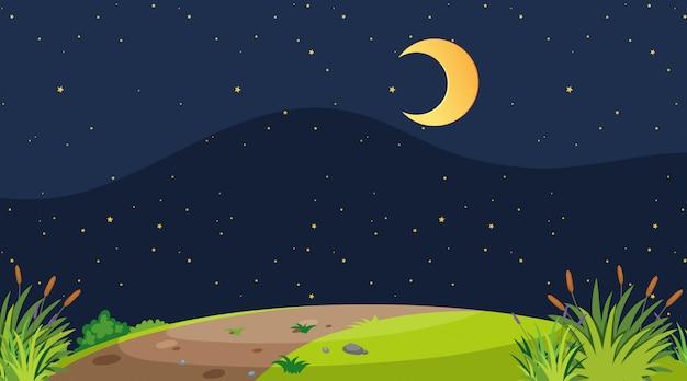 Een eenvoudig natuurlandschap 's nachts