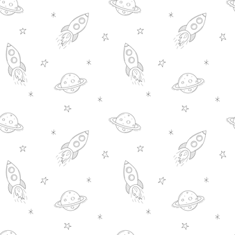 Een eenvoudig schattig naadloos patroon met een ruimteschip, raket, planeet saturnus. zwart-witte achtergrond
