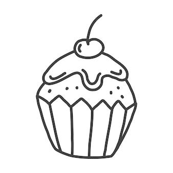 Een eenvoudige cupcake in doodle-stijl met een kers schadelijk zoet voedselpictogram vectorillustratie