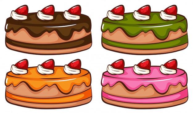Een eenvoudige gekleurde schets van de cakes