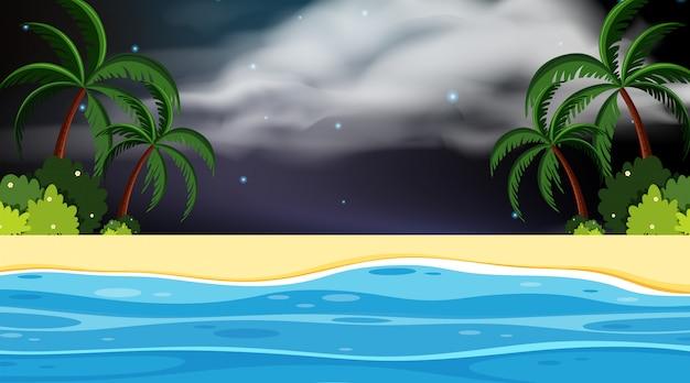 Een eenvoudige nachtscène op het strand