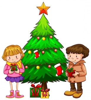 Een eenvoudige schets van de kinderen bij de kerstboom