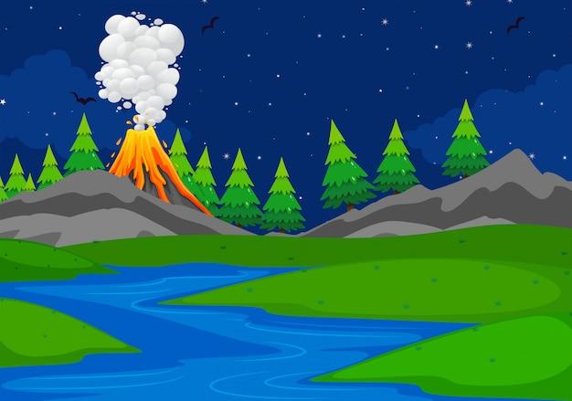 Een eenvoudige vulkaanscène