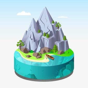 Een eiland met bergen en rotsen in 3d isometrie.