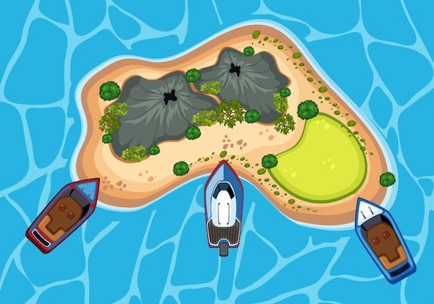 Een eiland vanuit bird eyes view