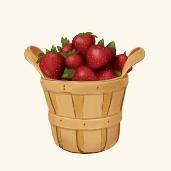 Een emmer aardbeien handgetekende sjabloon achtergrond