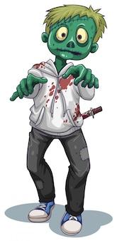 Een enge mannelijke zombie