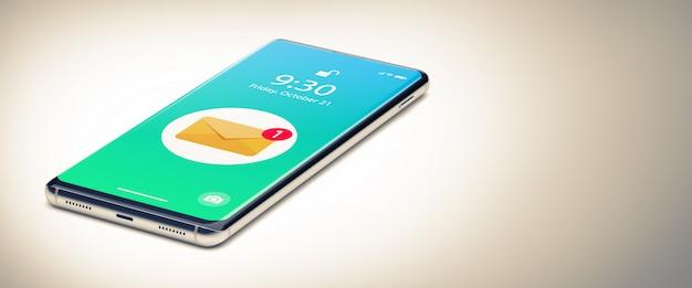 Een enkele mobiele telefoon met e-mailmelding op het scherm.