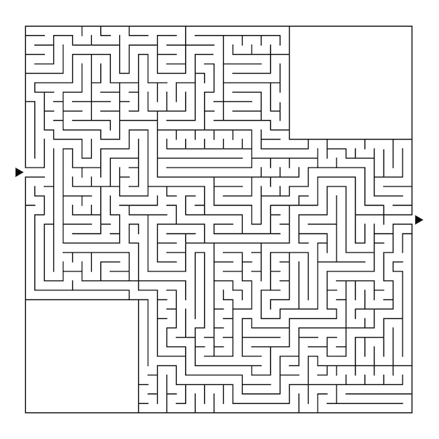 Een enorm vierkant labyrint met een ingang en een uitgang.