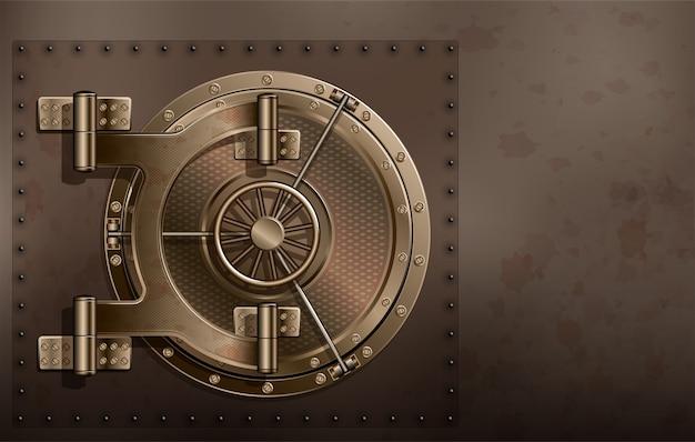 Een enorme metalen ronde kluisdeur. betrouwbare opslag van geheimen en wachtwoorden.