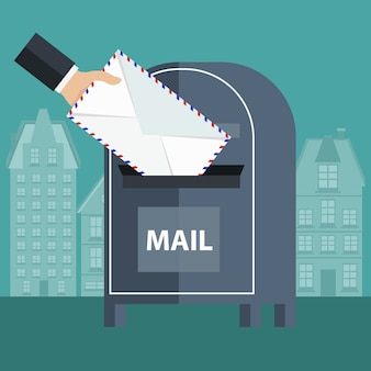 Een envelop in een mailbox plaatsen